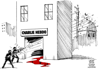 "While showing a mosque under terrorist attack along with the Charlie Hebdo building, cartoonist Carlos Latuff posted this cartoon and added ""#CharlieHebdo attack has another victim! Via @MiddleEastMnt #ParisShooting"""