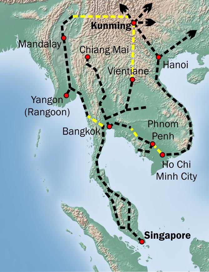 خريطة (2): الخط الحديدي االذي يصل بين كون مينغ وسنغافورة