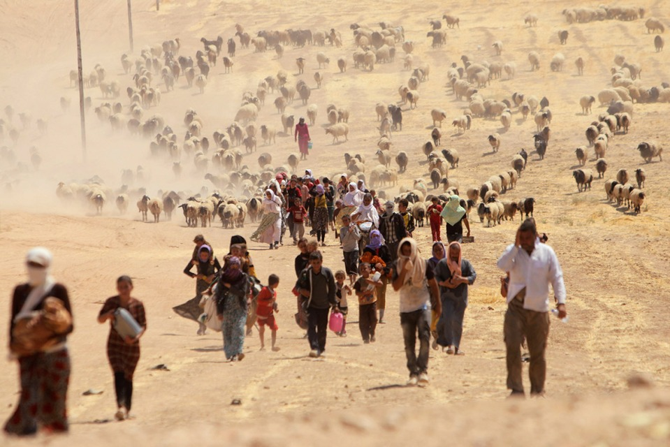 yazidi-refugees-flee-iraq