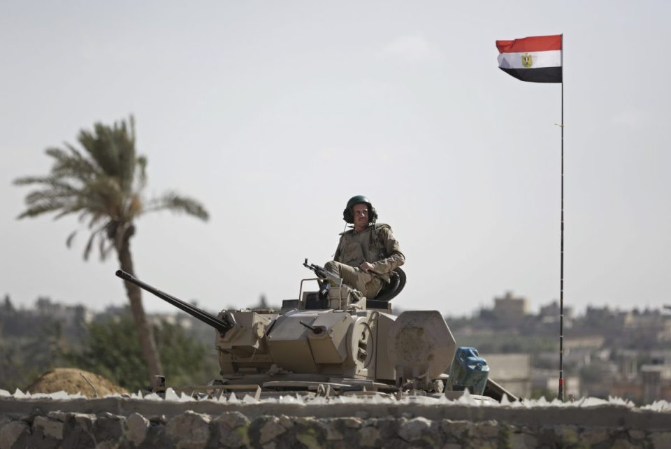 Egyptian security guard patrols the border between Egypt and Gaza Strip