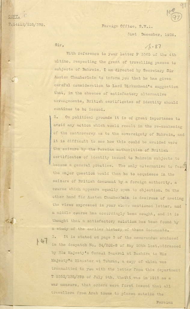 british document bahrain 1