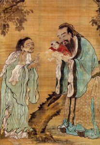 Confucius presenting the young Gautama Buddha to Laozi, China, Qing Dynasty. http://commons.wikimedia.org/wiki/File:Confucius_Laozi_Buddha.jpg