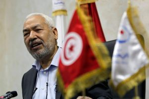 Rached Ghannouchi, head of the Ennahda movement, speaks during an interview with Reuters in Tunis
